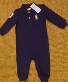7d9355dad89 POLO RALPH LAUREN BABY BOY 9 MONTHS BIG PONY OUTFIT ROMPER BLUE NEW  PoloRalphLauren  Polo