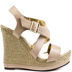 Gallop freely in the Galin by Michael Antonio.  This sandal boasts an enveloping espadrille on the 5 inch wedge and 1 1/4 inch platform.  Wrapping straps in a gorgeous tan finish off this sandal making it your new go to shoe.