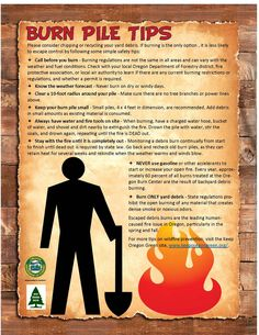 Burn pile tips, by the Oregon Department of Forestry
