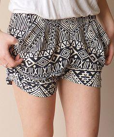 Look at this #zulilyfind! Black Geometric Shorts by DragonFly Deals #zulilyfinds