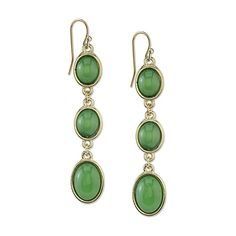 A lovely pair of linear drop earrings featuring green oval stones in a gold-tone setting.