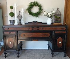 {createinspire}: Antique Buffet Makeover (with all the knobs! Black Furniture, Paint Furniture, Furniture Projects, Furniture Makeover, Vintage Furniture, Rustic Furniture, Modern Furniture, Outdoor Furniture, Furniture Online