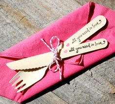 such an eco friendly option for your cake and dessert table. So many more cute designs from The Bakers Confections http://www.etsy.com/listing/111661849/wedding-wooden-utensil-set-with-all-you