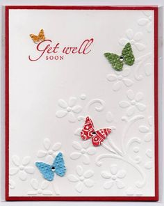 Stamps: Sincere Salutations Paper: Whisper White, Riding Hood Red, DSP Ink: Riding Hood Red Accessories: Embossing folder, butterfly punch, little diamonds