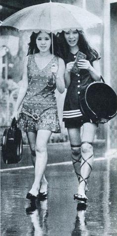 Women in mini skirt walking in Ginza - Japan - 1970