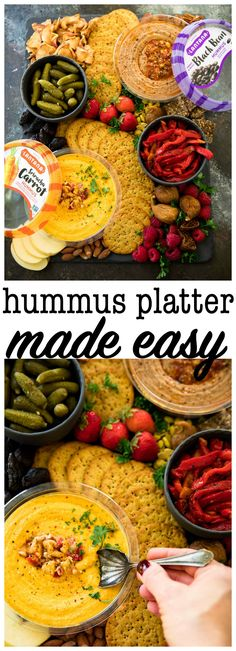 With holiday parties on the horizon, this hummus platter made easy is so perfect for all of your fun gatherings and celebrations!