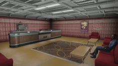 Central atrium, luxurious rooms offered by More Vault Rooms mod and many other features. Fallout 4 Vault Tec, Fallout Theme, Fallout 4 Settlement Ideas, Fall Out 4, Atrium, Canon, Workshop, Gaming, Rooms