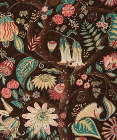 Tree of Eden Liberty print is a vibrant depiction of the intriguing plant life of an imagined Eastern paradise. This intricate design with fine line detail captures a diversity of unusual flora including fruits, berries and leaves. Indian Patterns, Textile Patterns, Textile Prints, Print Patterns, Floral Prints, Textiles, Liberty Art Fabrics, Liberty Print, Pattern Illustration