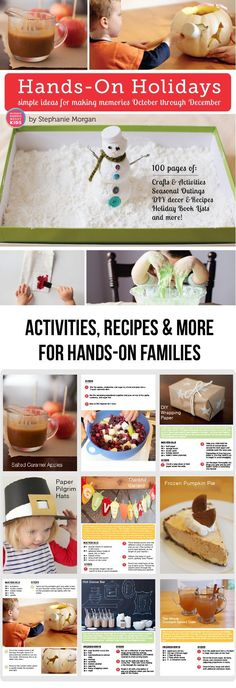 Hands-On Holidays: Simple Ideas for Making Memories October through December - The littles and I had so much fun working our way through last holiday season. The recipes and crafts are totally doable and we loved the book lists! Craft Activities, Toddler Activities, Holiday Activities, Creative Activities, Activity Ideas, Family Activities, Holiday Fun, Christmas Holidays, December Holidays