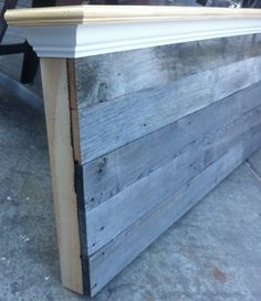Queen Size Barn wood headboard. We would use different wood but seems like an easy head board to make.