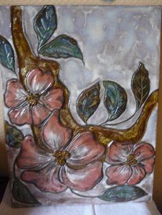 Art Ruscha Keramik Wandbild / Wandplatte  Blumen   45,5 x 34 cm