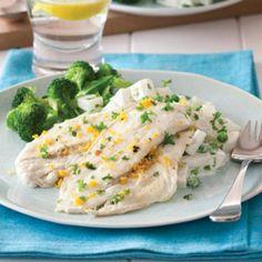 Pan-fried lemon fish with parsley potato salad - Australian Healthy Food Guide panic) Steam Seafood, Fish And Seafood, Fish Recipes, Seafood Recipes, Dinner Recipes, Healthy Food, Healthy Recipes, Healthy Meals, Yummy Food