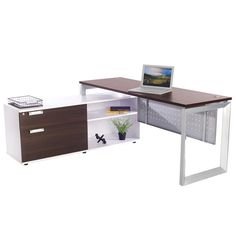 Great straightdesk with modern, flat silver legs and rich brown wood grain top. Includes low credenza with storage shelves and file drawers with the same wood