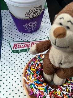 #Morning #coffee from @thecoffeebean  & a fun tasty #treat from @krispykreme!  A great combination that makes me #love #Monday.