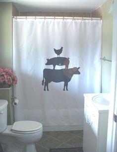 farm animal pyramid shower curtain chicken pig cow farmyard farming food bathroom decor kids bath curtains