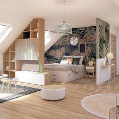 Room Design Bedroom, Home Room Design, Bed Design, Home Interior Design, Bedroom Decor, House Design, Deco Studio, Attic Rooms, Home Decor Shops