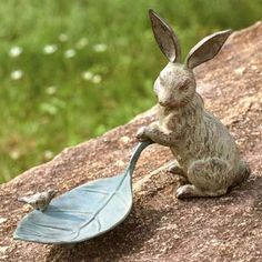 Rabbit and Leaf Bird Feeder Garden Statue Available at AllSculptures.com