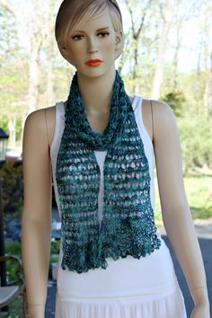 Ocean Blue Knitted Scarf by CasadeAngelaCrochet on Etsy, $45.00