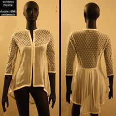 White lace georgette shirt