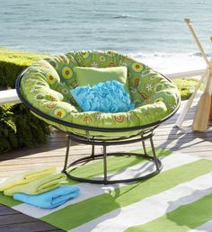 This patio furniture collection from Pier One offers several different seating pieces, and is currently off! Lots of cushion and pillow options sold.patio furniture pier one new… Hanging Papasan Chair, Double Papasan Chair, Papasan Cushion, Garden Furniture Sets, Bench Furniture, Kids Furniture, Cottage Furniture, Outdoor Furniture, Outdoor Chairs