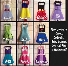 Aurora Sleeping Beauty Apron by LittleNuggetCreation on Etsy Disney Princess Aprons, Disney Aprons, Dress Up Aprons, Dress Up Outfits, Dresses, Sewing Hacks, Sewing Crafts, Sewing Projects, Sewing Aprons