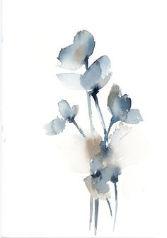 Minimalist blue grey florals Original watercolor painting, flowers abstract painting, modern minimalist painting, flowers painting