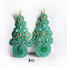 Turquoise and gold large beautiful earrings soutache Small Earrings, Pearl Stud Earrings, Unique Earrings, Beautiful Earrings, Soutache Bracelet, Soutache Jewelry, Soutache Tutorial, Fabric Jewelry, Czech Glass Beads