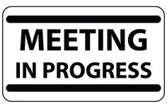 Printable Meeting In Progress Sign Black Bold Free Office Door Signs