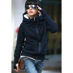 New Arrival Autumn&Winter Fashion Style Cotton Polo Neck Hoodies With Thumb Holes For Women (BLUE,ONE SIZE) | Sammydress.com