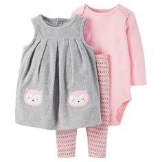 Baby Girls' 3 Piece Owl Jumper Set Grey/Pink 3M - Just One YouMade by Carter's, Infant Girl's, Size: 3 M
