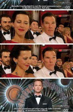Benedict's face when Neil Patrick Harris hosts the Oscars 2015 xD Benedict Cumberbatch Oscar, Benedict Sherlock, Benedict Cumberbatch Sherlock, Sherlock Quotes, Sherlock John, Sherlock Holmes, Jim Moriarty, Ben Afleck, Actors Funny
