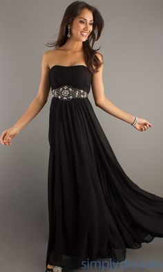 Classic Long Strapless Dress, Black Formal Dress - Simply Dresses