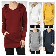 Women Raglan Long Sleeve V-Neck Hoodie Sweatshirt Tunic Top Pocket Brushed Line  #YFH #TunicSweatshirt #Casual