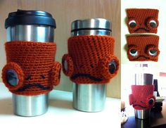 """Crochet Admiral Ackbar coffee cozy - It's a frap! Crochet Coffee Cozy, Crochet Cozy, Crochet Crafts, Yarn Projects, Knitting Projects, Crochet Projects, Star Wars Crochet, Admiral Ackbar, Star Wars Crafts"