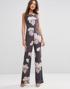 ASOS Tall | ASOS TALL SALON Jumpsuit with Cross Back in Floral Print at ASOS