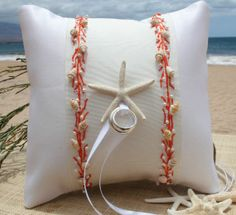 cute ring barrers   Cute beach ring bearer pillow.   Pillows That I love! Some of these a ...