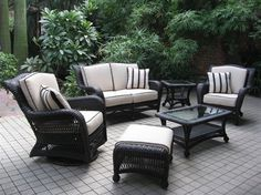Outdoor GreatRoom - Our Ebony Collection was created with an eye towards classic beauty and durability, using only the finest wicker. This timeless wicker furniture will give you years of outdoor entertaining pleasure. Get it at www.outdoorrooms.com