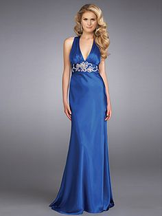 V-Neck Royal Blue Silky Satin Evening Gown of Sequined Accent