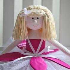 cerise pink handmade personalised rag doll