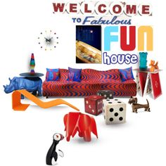 Welcome to the fabulous fun house Fun House, Home Goods, Modern Design, Polyvore, Stuff To Buy, Collection, Women, Contemporary Design, Woman