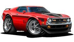 1971 72 Ford Mustang Mach 1 Muscle Car Art Cartoon Tshirt New | eBay