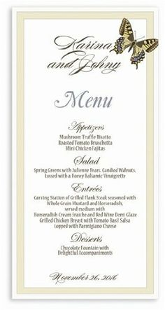 205 Wedding Menu Cards - Butterfly Taupe Pewter In Frame by WeddingPaperMasters.com. $131.20. Now you can have it all! We have created, at incredible prices & outstanding quality, more than 300 gorgeous collections consisting of over 6000 beautiful pieces that are perfectly coordinated together to capture your vision without compromise. No more mixing and matching or having to compromise your look. We can provide you with one piece or an entire collection in a one stop...