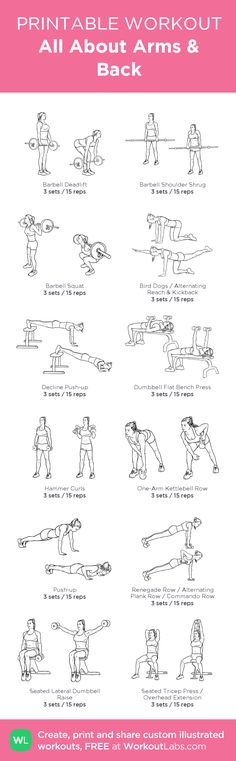 All About Arms & Back:my visual workout created at WorkoutLabs.com • Click through to customize and download as a FREE PDF! #customworkout
