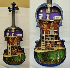 Miniature Steampunk Fairy House Dollhouse In Real Violin. Found on Etsy. Someone gave me a very derelict violin and I just wonder if. Miniature Rooms, Miniature Houses, Miniature Gardens, Steampunk Fairy, Steampunk House, Mini Things, Miniture Things, Fairy Houses, Shadow Box