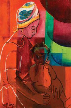 Late Career: 1961-1981   JONES, Loïs Mailou African-American Harlem Renaissance (1905-1998)_Letitia and Patrick 1964