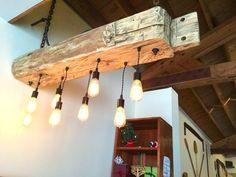 Hand hewn barn sleeper beam rustic light fixture with Edison bulbs