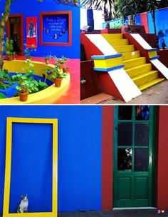 """Frida Kahlo's Casa Azul """"Blue House.""""  I remember visiting her home--now a museum--and loving how deeply colorful and creative her entire house was."""