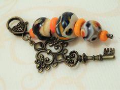 """Taschenanhänger - Handgearb. Anhänger """"Orange"""" !Lampwork! - ein Designerstück…"""