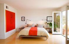 white and orange contemporary bedroom design
