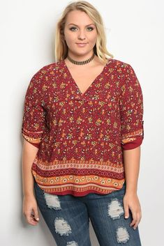 01661800241 Plus size 3 4 sleeve multi print top with a v neckline Retro Floral